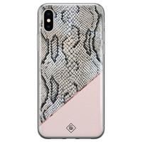 Casimoda iPhone X/XS siliconen hoesje - Snake print