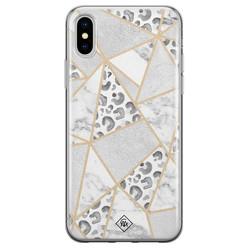 Casimoda iPhone X/XS siliconen hoesje - Stone & leopard print