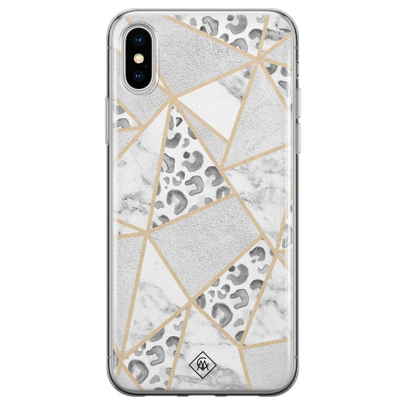 Casimoda iPhone X/XS siliconen telefoonhoesje - Stone & leopard print