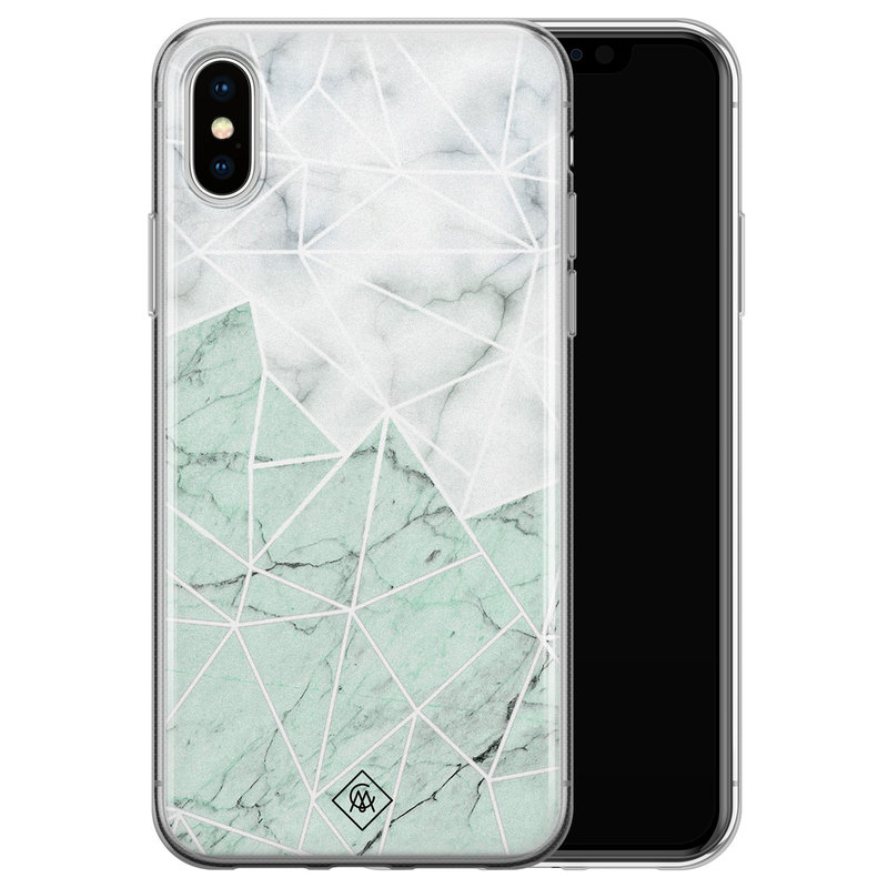 Casimoda iPhone X/XS siliconen telefoonhoesje - Marmer mint mix