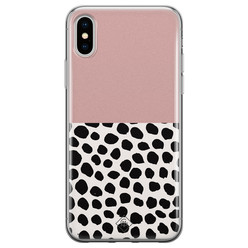 Casimoda iPhone X/XS siliconen hoesje - Pink dots