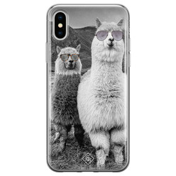 Casimoda iPhone X/XS siliconen hoesje - Llama hipster