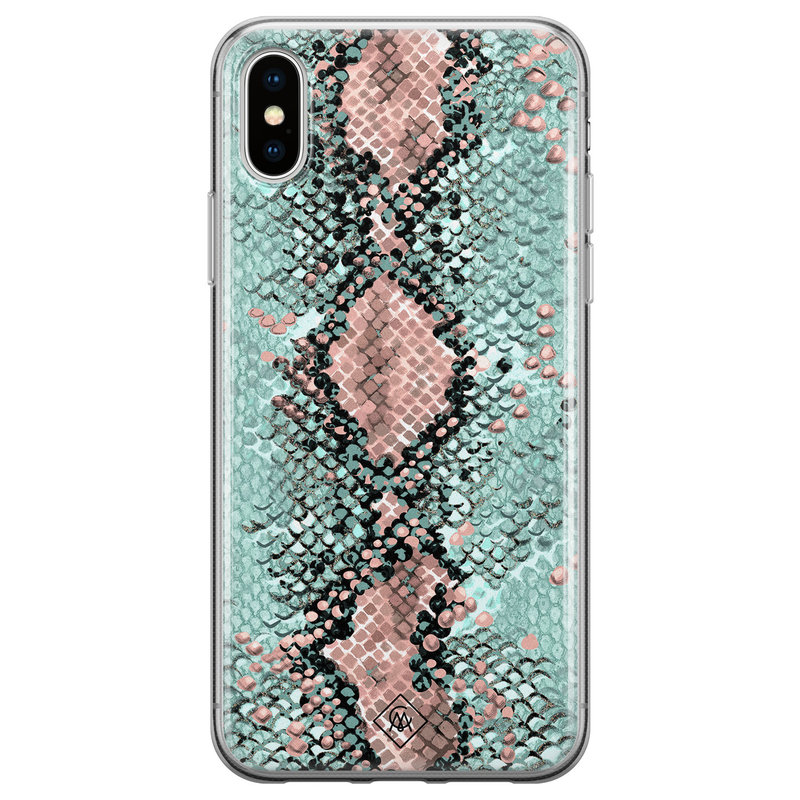 Casimoda iPhone X/XS siliconen hoesje - Snake pastel