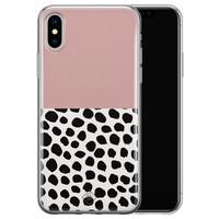 Casimoda iPhone X/XS siliconen hoesje - Pink dots
