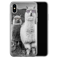 Casimoda iPhone X/XS siliconen telefoonhoesje - Llama hipster