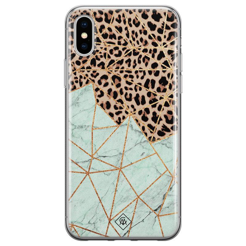 Casimoda iPhone X/XS siliconen hoesje - Luipaard marmer mint