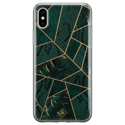 Casimoda iPhone X/XS siliconen hoesje - Abstract groen