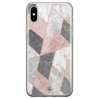 Casimoda iPhone X/XS siliconen telefoonhoesje - Stone grid