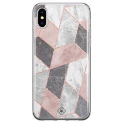 Casimoda iPhone X/XS siliconen hoesje - Stone grid