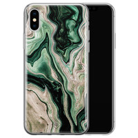 Casimoda iPhone X/XS siliconen hoesje - Green waves
