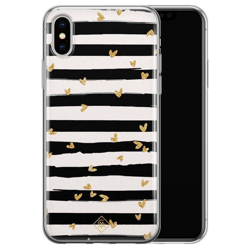 Casimoda iPhone X/XS siliconen telefoonhoesje - Hart streepjes