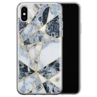 Casimoda iPhone X/XS siliconen hoesje - Marmer blauw