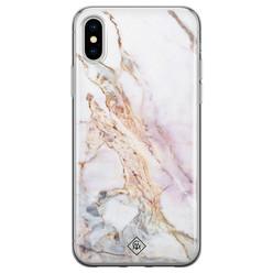 Casimoda iPhone X/XS siliconen hoesje - Parelmoer marmer