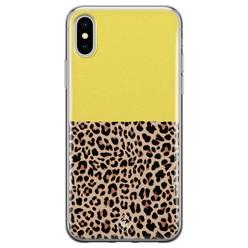 Casimoda iPhone X/XS siliconen hoesje - Luipaard geel