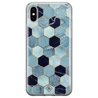 Casimoda iPhone X/XS siliconen hoesje - Blue cubes