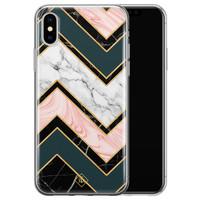 Casimoda iPhone X/XS siliconen hoesje - Marmer triangles