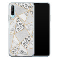 Casimoda Huawei P Smart Pro siliconen telefoonhoesje - Stone & leopard print