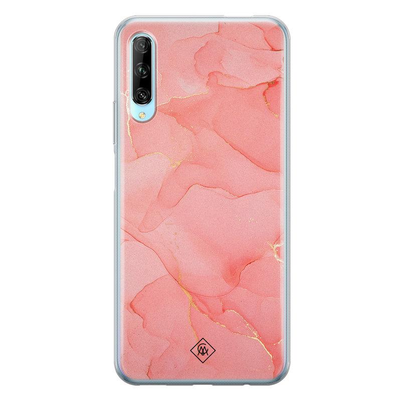 Casimoda Huawei P Smart Pro siliconen hoesje - Marmer roze