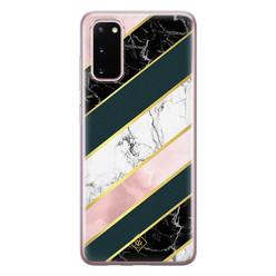 Casimoda Samsung Galaxy S20 siliconen hoesje - Marble stripes