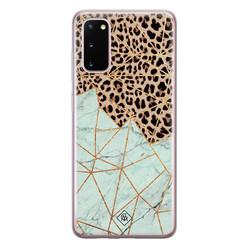 Casimoda Samsung Galaxy S20 siliconen hoesje - Luipaard marmer mint