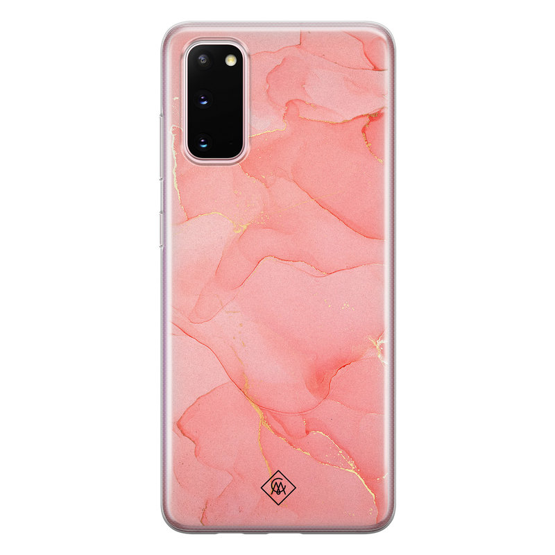Casimoda Samsung Galaxy S20 siliconen hoesje - Marmer roze