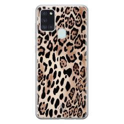 Casimoda Samsung Galaxy A21s siliconen hoesje - Golden wildcat