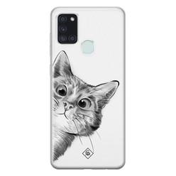 Casimoda Samsung Galaxy A21s siliconen hoesje - Peekaboo