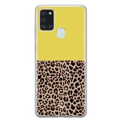 Casimoda Samsung Galaxy A21s siliconen hoesje - Luipaard geel