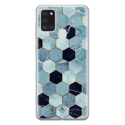 Casimoda Samsung Galaxy A21s siliconen hoesje - Blue cubes