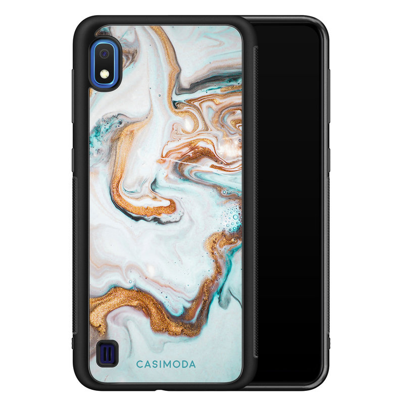 Casimoda Samsung Galaxy A10 hoesje - Marmer blauw goud