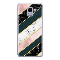 Casimoda Samsung Galaxy J6 (2018) siliconen hoesje - Marble stripes