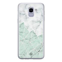 Casimoda Samsung Galaxy J6 (2018) siliconen hoesje - Marmer mint mix