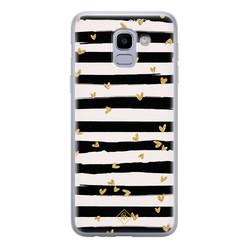 Casimoda Samsung Galaxy J6 (2018) siliconen hoesje - Hart streepjes