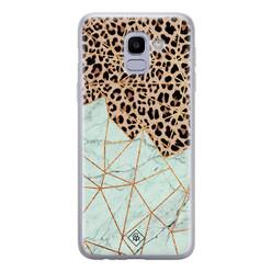 Casimoda Samsung Galaxy J6 (2018) siliconen hoesje - Luipaard marmer mint