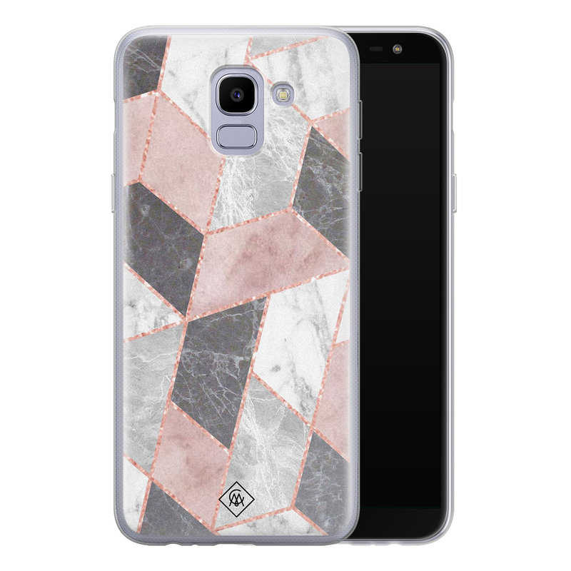Casimoda Samsung Galaxy J6 (2018) siliconen telefoonhoesje - Stone grid