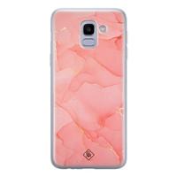 Casimoda Samsung Galaxy J6 (2018) siliconen hoesje - Marmer roze