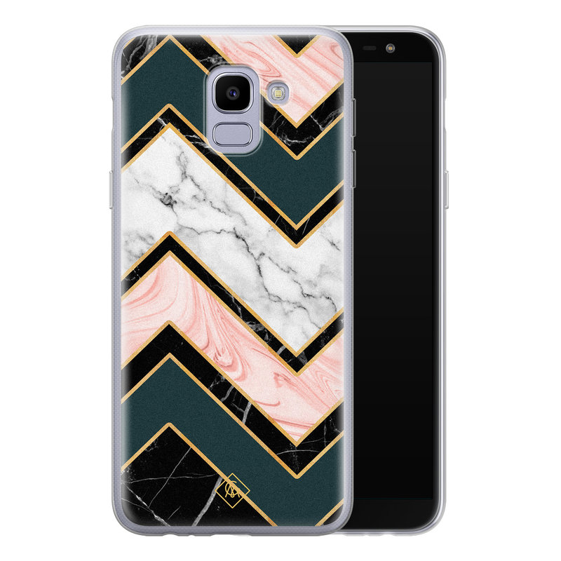 Casimoda Samsung Galaxy J6 (2018) siliconen hoesje - Marmer triangles