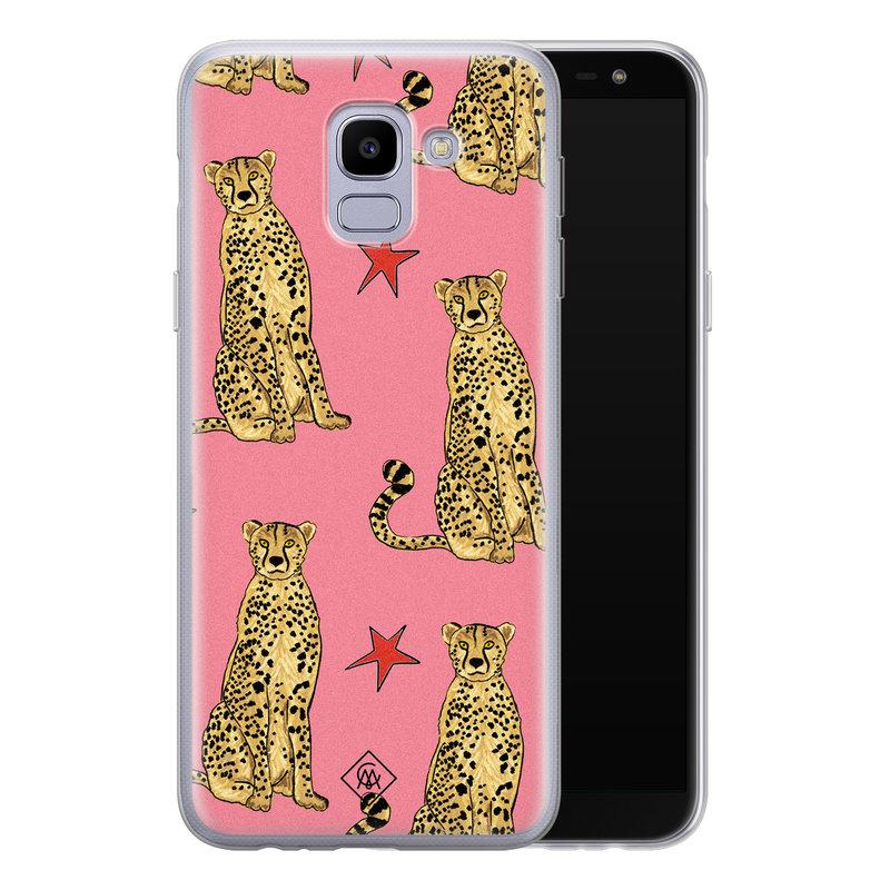 Casimoda Samsung Galaxy J6 (2018) siliconen hoesje - The pink leopard