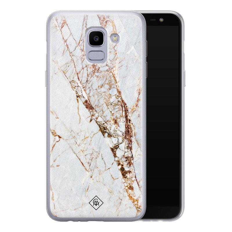 Casimoda Samsung Galaxy J6 (2018) siliconen hoesje - Marmer goud
