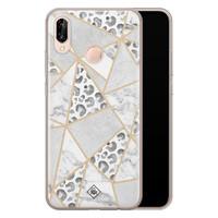 Casimoda Huawei P20 Lite siliconen telefoonhoesje - Stone & leopard print