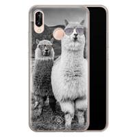 Casimoda Huawei P20 Lite siliconen telefoonhoesje - Llama hipster