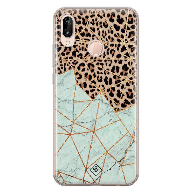 Casimoda Huawei P20 Lite siliconen hoesje - Luipaard marmer mint