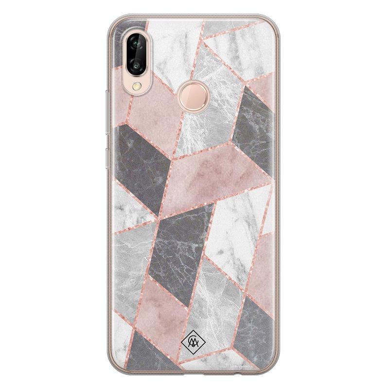 Casimoda Huawei P20 Lite siliconen telefoonhoesje - Stone grid