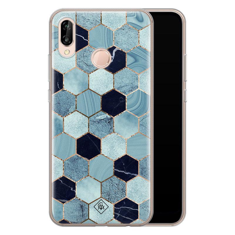Casimoda Huawei P20 Lite siliconen hoesje - Blue cubes