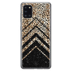 Casimoda Samsung Galaxy A31 siliconen hoesje - Chevron luipaard