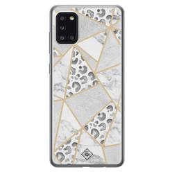 Casimoda Samsung Galaxy A31 siliconen hoesje - Stone & leopard print