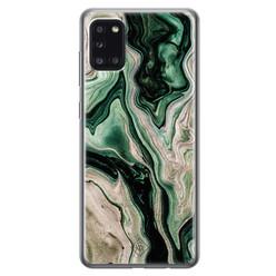 Casimoda Samsung Galaxy A31 siliconen hoesje - Green waves