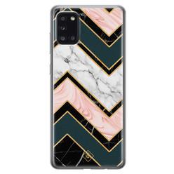 Casimoda Samsung Galaxy A31 siliconen hoesje - Marmer triangles
