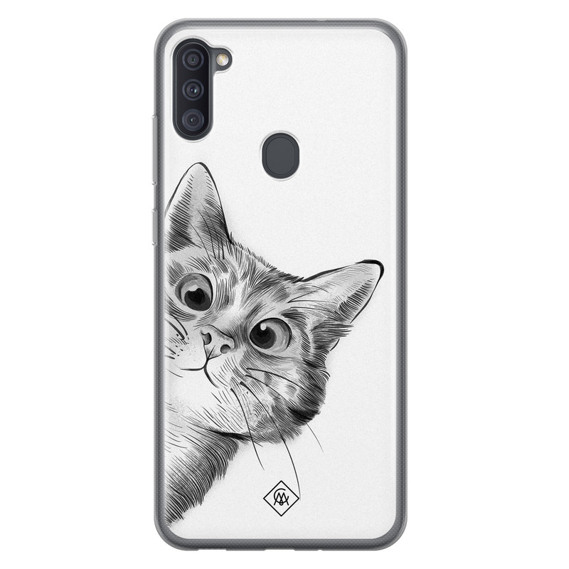Casimoda Samsung Galaxy A11 siliconen hoesje - Peekaboo