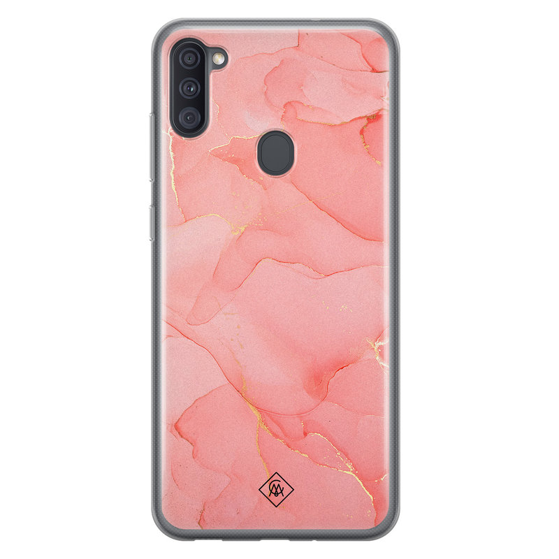 Casimoda Samsung Galaxy A11 siliconen hoesje - Marmer roze